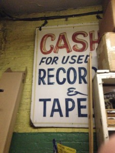 A sign from the store's early days.